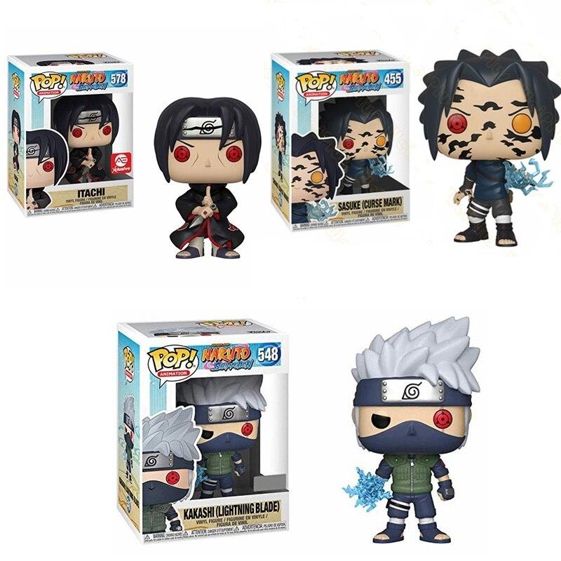 Funko Pop NarutoItachi Kakashi Sasuke Model Vinyl Dolls Action Toy Figures 10cm Collection Figure Toys for Kids Christmas Gift